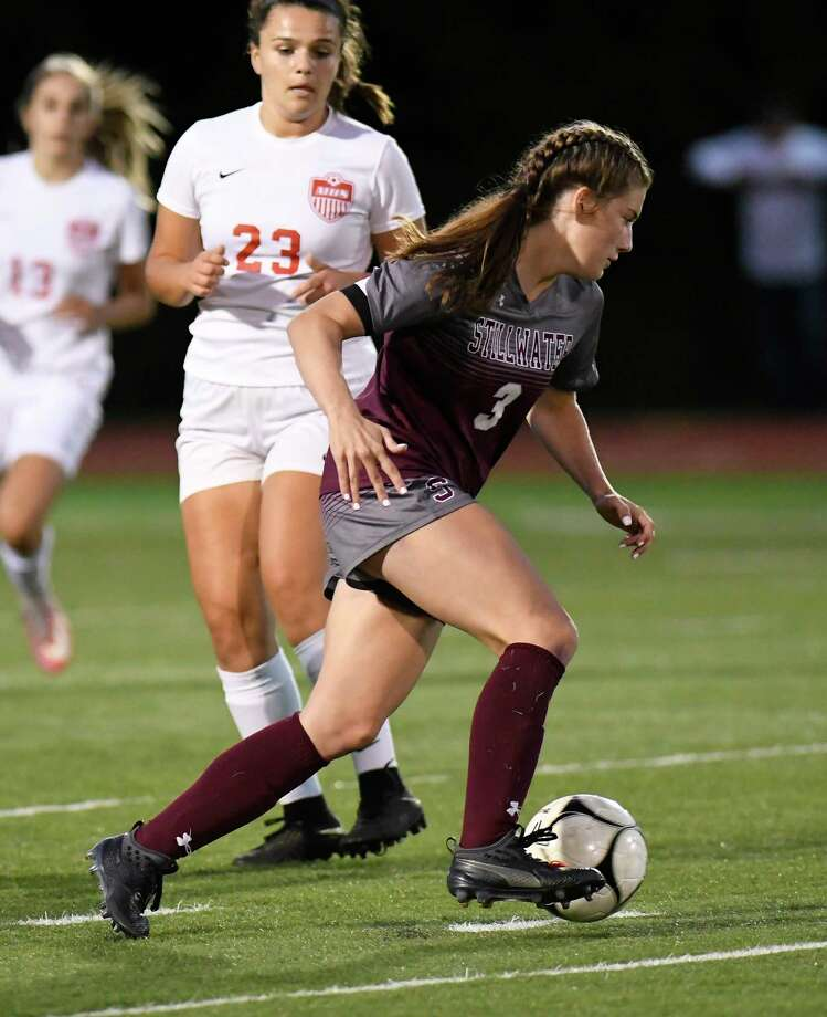 Stillwater's Brooke Picketts (3) moves the ball against Mechanicville during a Section II girls' high school soccer game in Stillwater, N.Y., Monday, Sept.16, 2019. (Hans Pennink / Special to the Times Union) Photo: Hans Pennink / Hans Pennink