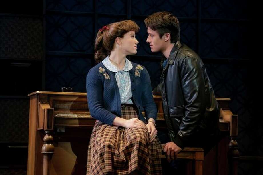 """Kennedy Caughell as Carole King and James D. Gish as Gerry Goffin act out a scene from """"Beautiful - The Carole King Musical.""""(Photo provided/Joan Marcus)"""