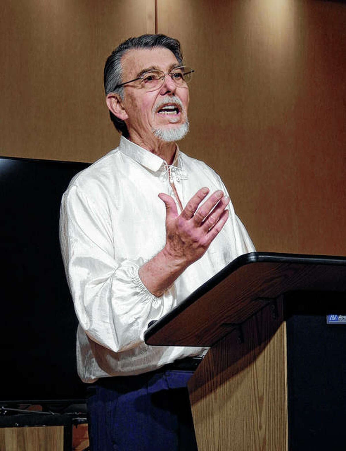 Robert Seufert rehearses in May 2018 ahead of a reading of Romantic poems as part of a fundraiser for the Jacksonville Symphony Society. Seufert, a professor emeritus of literature at MacMurray College, will read selections from his two latest chapbooks during an event at 7 p.m. today at Our Town Books.