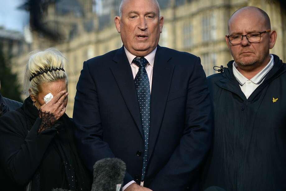 LONDON, ENGLAND - OCTOBER 09: Family spokesman Radd Seiger speaks on behalf of father of Harry Dunn, Tim Dunn (R) and mother Charlotte Charles (L) after meeting with Foreign Secretary Dominic Raab on October 9, 2019 in London, England. Motorcyclist Harry Dunn, 19, died in a collision with a car in Northamptonshire on August 27th. Anne Sacoolas, the wife of a US diplomat, was named as a suspect in the crash but later left the UK despite telling police she had no such plans. (Photo by Peter Summers/Getty Images) Photo: Peter Summers, Getty Images