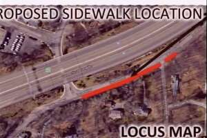A map of the proposed sidewalk extension on Locust Hill Road in Darien