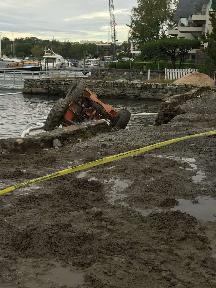 The aftermath of a seawall collapse on Steamboat Road in Greenwich. Photo: / Contributed