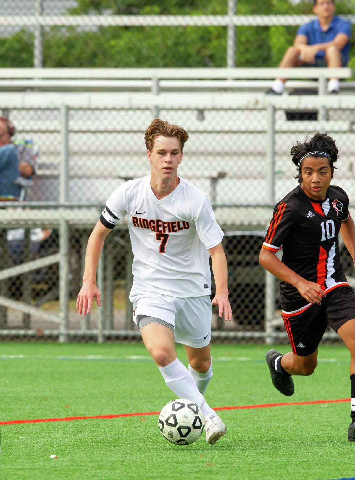 Riley Gousse controls the ball during a Ridgefield game this season.