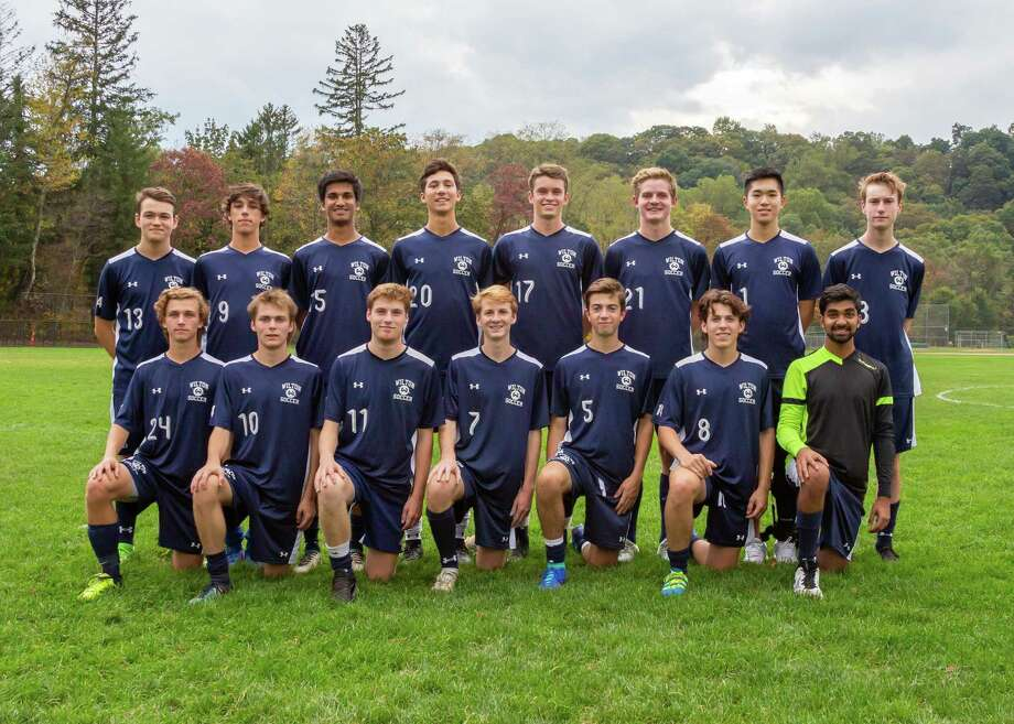 The seniors on this year's Wilton High boys soccer team will be recognized 30 minutes before the start of tonight's Senior Night game (6:30 p.m.) against Brien McMahon at Kristine Lilly Field. Front row (left to right): Michael Zizzadoro, Connor Uitterdijk, Luke Macdonald, Liam McLaughlin, Philip Klinga, Liam McGovern, Rishabh Raniwala; back row: Ryan Vanderwall, Gonzalo Alonso Alvarez, Rohit Singhal, Damien Schmidt, Karl Pfeiffer, Parker Ward, Larry Huang, and Isaac Quantock. Photo: Contributed Photo / Wilton High Boys Soccer