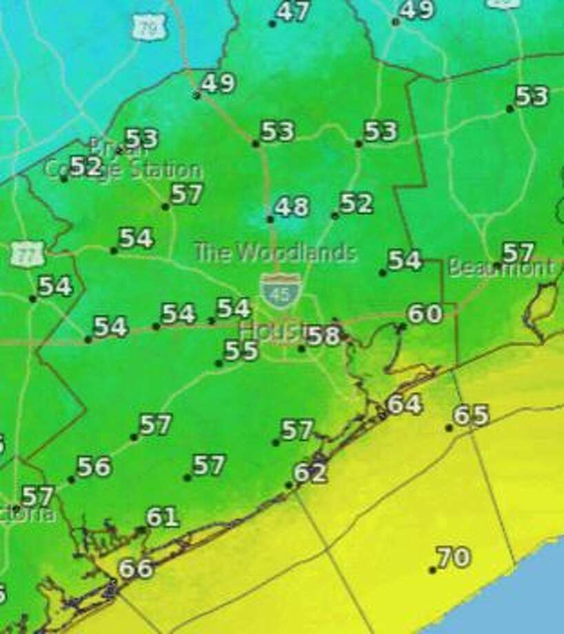The Bayou City will finally get its first taste of fall around Friday evening, according to the National Weather Service.  Photo: National Weather Service