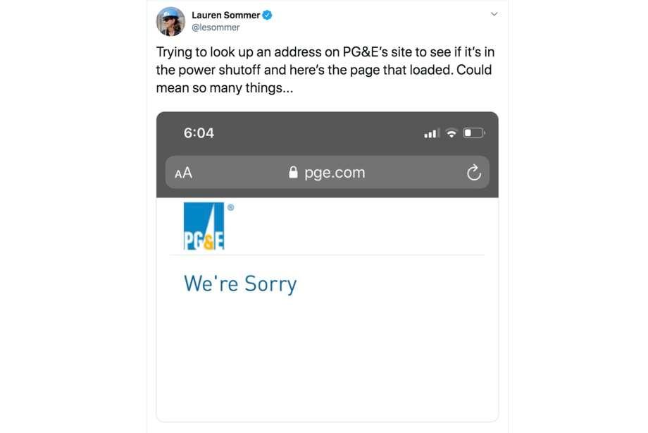 PG&E's site kept crashing throughout the public safety shut-off on Oct. 8-9, 2019. Photo: Screenshot Via Twitter