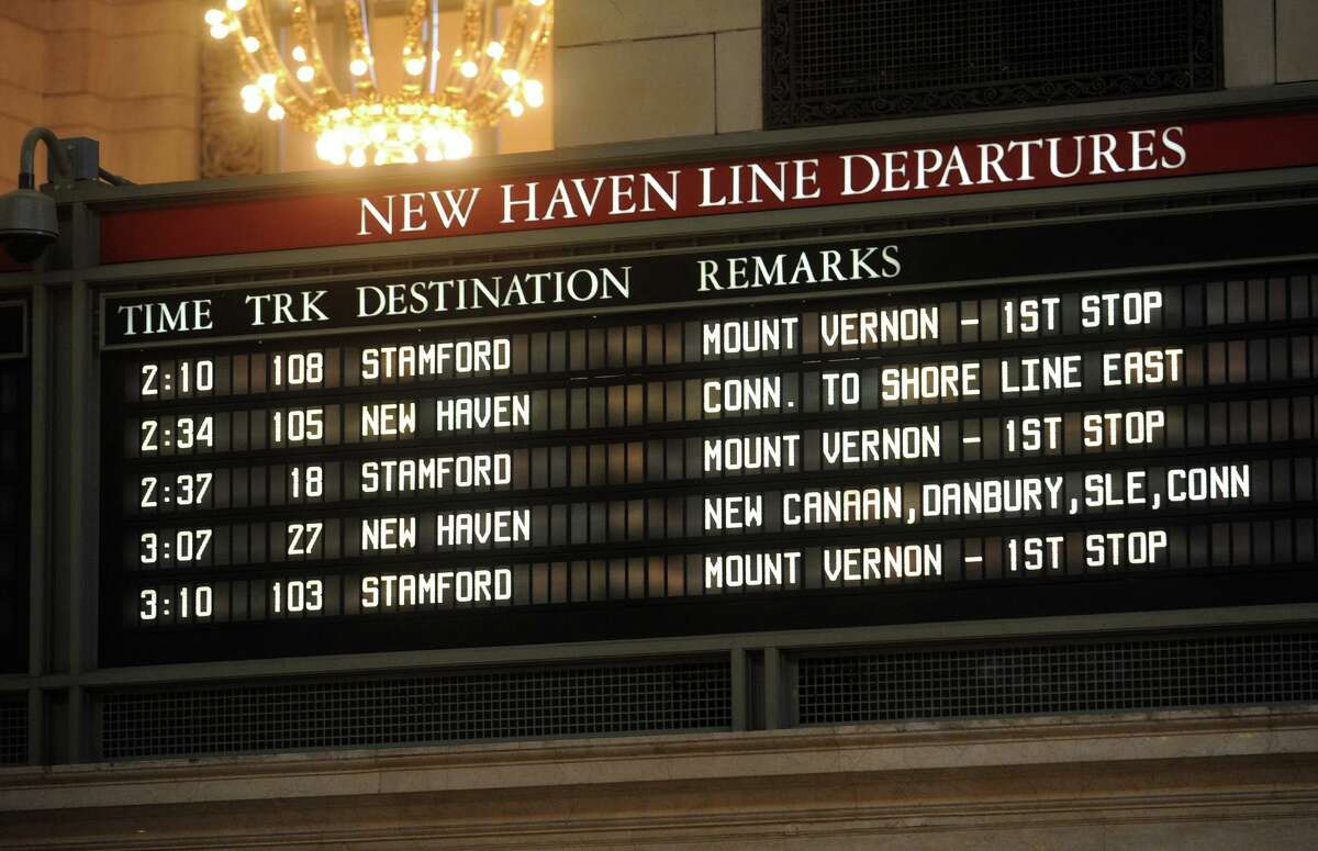 The New Haven Line departure board on the Main Concourse at Grand Central.