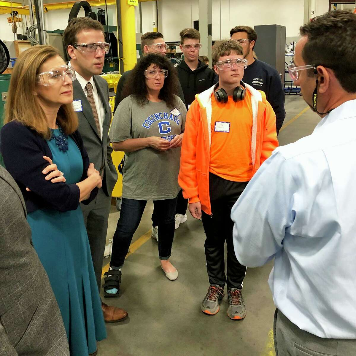 Lt. Gov. Susan Bysiewicz marked Manufacturing Month Oct. 4 by joining high school students on a tour of Pegasus Manufacturing in Middletown.