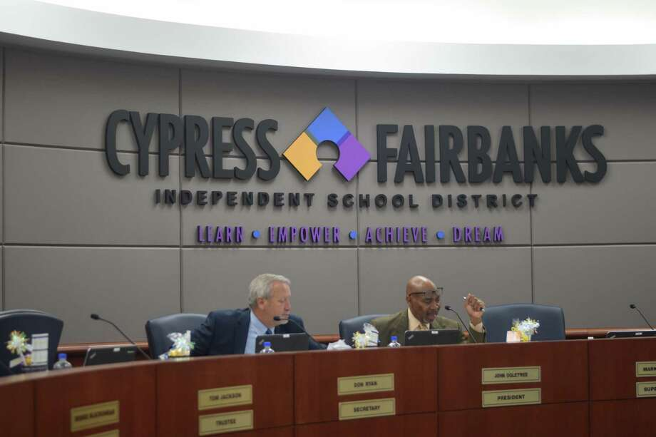 The Cy-Fair ISD board of trustees meet twice a month for committee-of-the-whole and regular meetings. Photo: Chevall Pryce