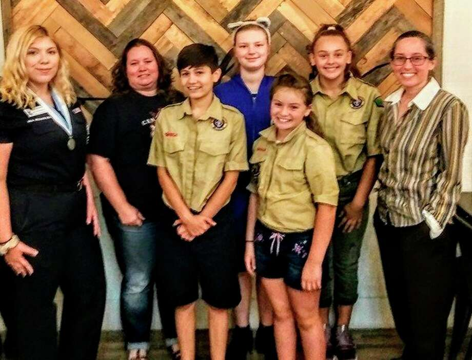 Back row from left: Neive Quinones, Asst. Scout Master, Carolynn Porritt, Lily Woods, Lia Dice, and Scout Master Juanita Rivera. Front row: Sofia Berlanga and Nevaeh Tschirhart.