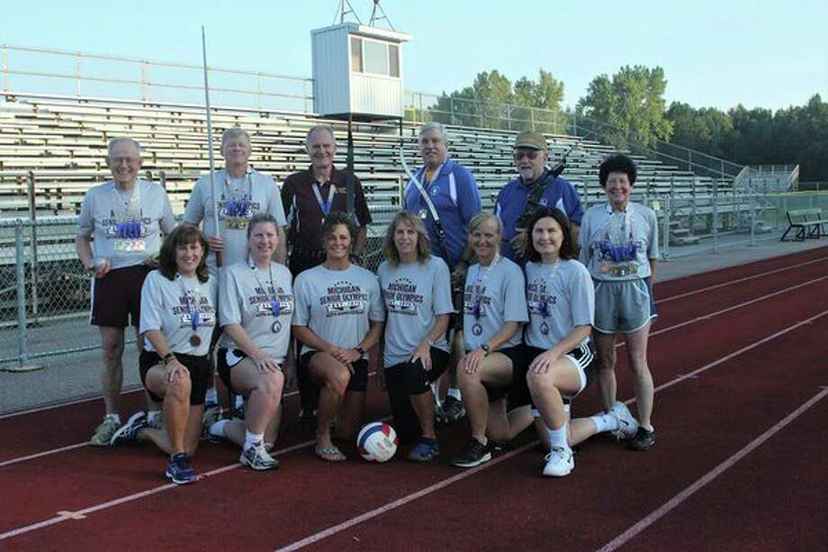 Pictured are Midland senior athletes (front row, from left) MaryAnne Wright, Chris Lade, Luann Kuznicki, Roschelle Houston, Shannon Striebel, Jenee Velasquez; (back row, from left) Wendell Dilling, Willis Pennington, Howard King, Dave Wallick, James Hoogerhyde, Rebecca Wieland. Not pictured are Jerry Falor, Christopher Church, Gail Kantak and Elizabeth Abbott. (Photo by Marcia Dilling)