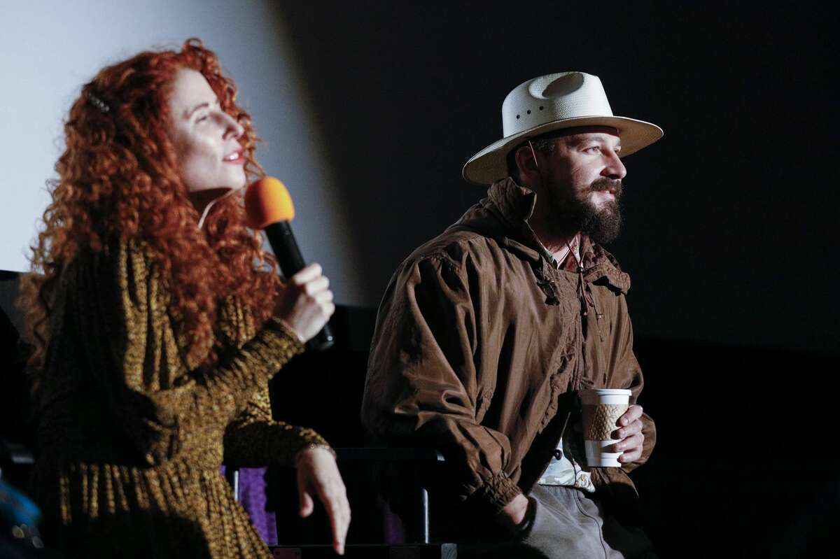 LARKSPUR, CA - OCTOBER 09: Shia LaBeouf (R) and Alma Harel speak during a Q&A at the 42nd Mill Valley Film Festival -