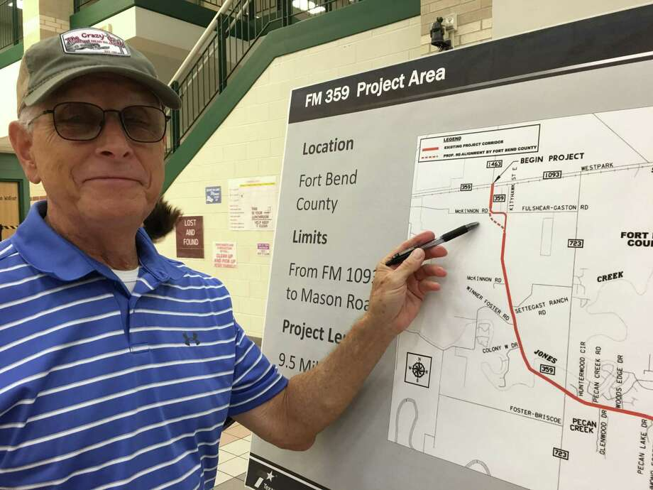 Rip Blackwood, who moved to the west Fort Bend County area early in the summer, favors the Texas Department of Transportation realigning the FM 359 curve at McKinnon Road and Fulshear-Gaston Road. Photo: Karen Zurawski / Karen Zurawski