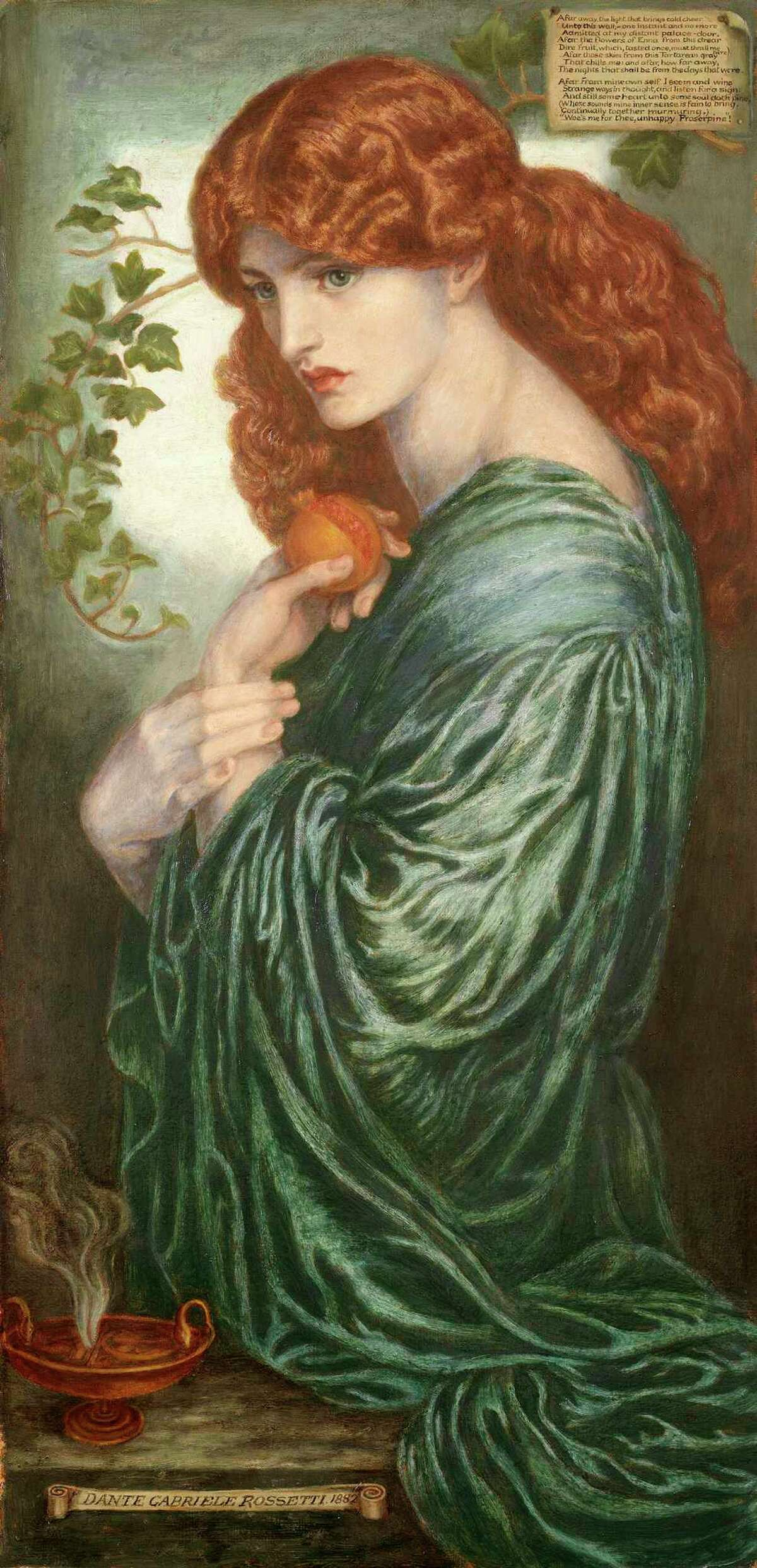 """Dante Gabriel Rosetti's oil painting """"Proserpine,"""" dated 1881-82, is on display at the San Antonio Museum of Art as part of the exhibit """"Victorian Radicals: From the Pre-Raphaelites to the Arts and Crafts Movement."""""""