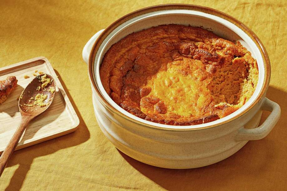 Pumpkin Spoon Bread. Photo: Photo By Tom McCorkle For The Washington Post. / For The Washington Post