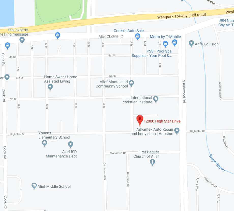 Homicide detectives are on their way to the 12000 block of High Star near South Kirkwood after Houston police say a man was on the ground outside his vehicle. Photo: Google Maps