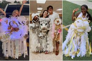 PHOTOS: Texas-sized homecoming mums  Homecoming season is officially underway in Texas, and the Houston-area is celebrating in a big way.   >>>Click through the photos to see over-the-top homecoming mums from Houston-area students...