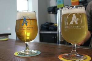 Athletic Brewing Company in Stratford has two flagship brews in its Run Wild IPA and Upside Dawn golden wheat ale.