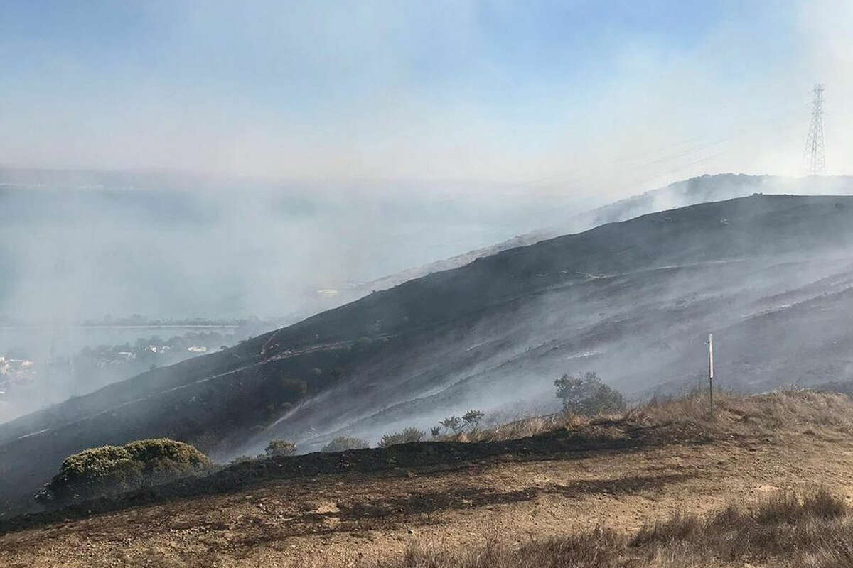 A grass fire erupted late on San Bruno Mountain above the city of Brisbane in San Mateo County, Thursday, October 10, 2019.