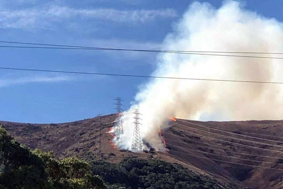 A grass fire erupted late on San Bruno Mountain above the city of Brisbane in San Mateo County, Thursday, October 10, 2019. Photo: City Of Brisbane