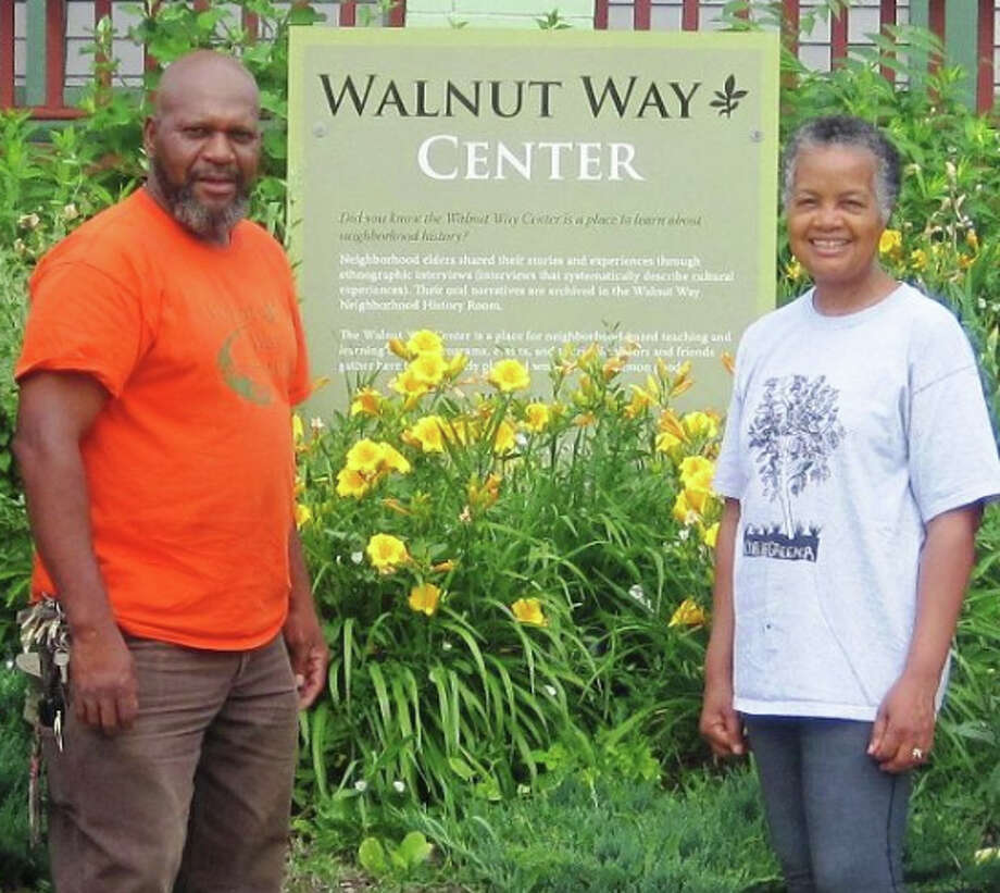 Sharon and Larry Adams in front of the restored Walnut Way Center in 2012. Photo: Walnut Way Conservation Corp. / Handout