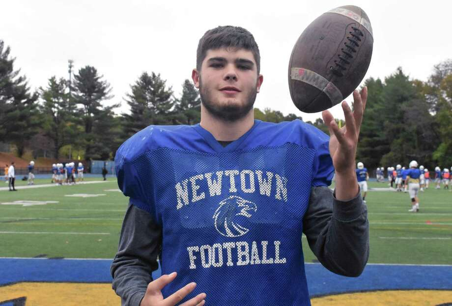 Newtown's Jared Dunn is the last of four brothers that have come through and played for the Newtown football team. (Pete Paguaga, Hearst Connecticut Media) Photo: Pete Paguaga / Hearst Connecticut Media / Connecticut Post