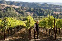 On-site customer director Philip Hansell walks through the vineyards where workers halted harvesting operations at the Hess Winery in Napa, Calif. Thursday, Oct. 10, 2019 after the winery closed due to a PG&E Public Safety Power Shutoffs across Northern California.