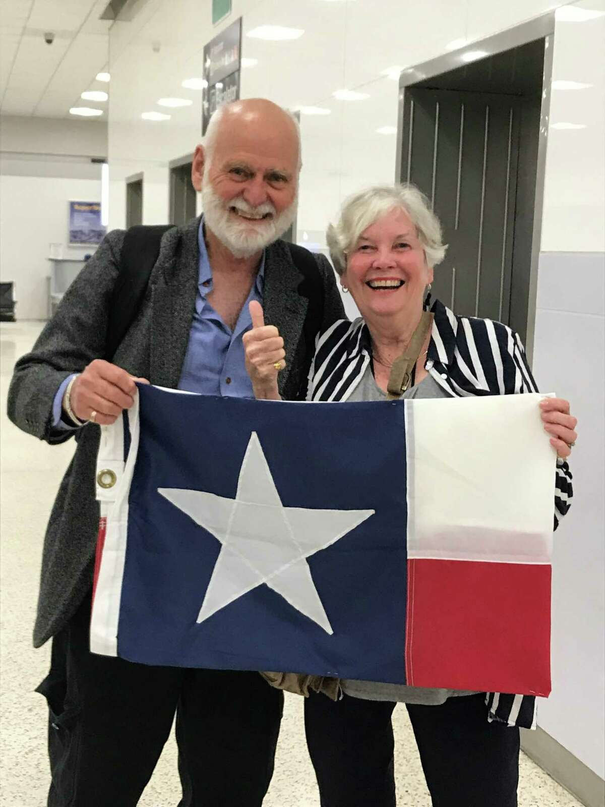 Pictured are John and Judy Midgley, from Australia, as they arrived in Houston in late September. Judy Midgley has been a 60-year pen pal with Barbara Hollier Cutler. From late September to late October, the ladies and their husbands traveled across the West as the Midgleys explore America.