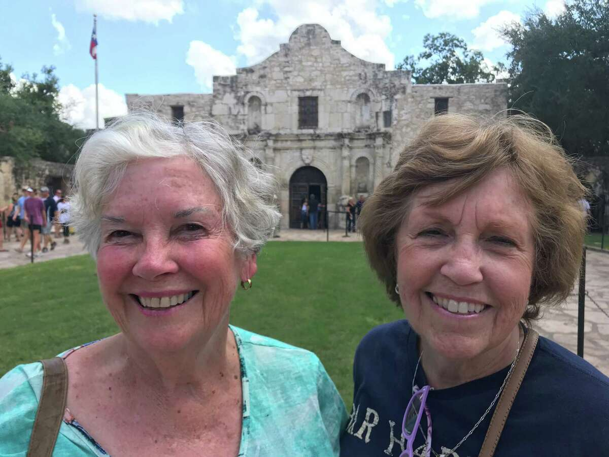Judy Midgley and Barbara Cutler at the Alamo in San Antonio. They two have been pen pals for 60 years and they took a trip across the West with their husbands.