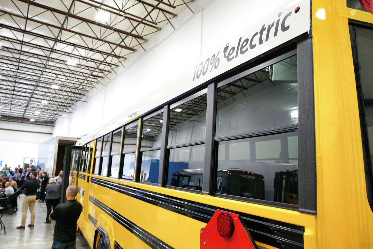 A view of an electric school bus at a ribbon cutting event for the new electric vehicle showroom for The Lion Electric Co. on Thursday, Oct. 10, 2019, in Green Island, N.Y. (Paul Buckowski/Times Union)