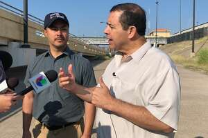 Congressmen Joaquin Castro and Henry Cuellar visited the immigration court tents in Laredo Tuesday.