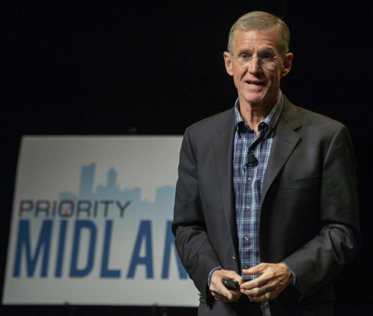 Retired Gen. Stanley McChrystal speaks Feb. 11 at the kickoff event of Priority Midland, an initiative to bring Midland area leaders, community members ad taxing entities together for the betterment of Midland.