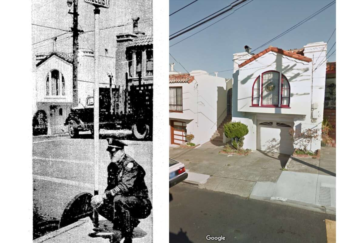 A look at Oliver Street in Daly City. On the left, a police officer shows the drain where Penny Bjorkland dumped her remaining bullets. On the right, Google Street View shows the house she and her parents lived in today.