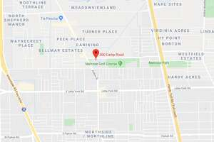 A man was shot Thursday afternoon near Melrose Park in north Houston, and deputies are searching for the suspect.