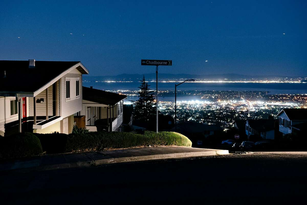 Darkened homes off of Skyline Boulevard in Oakland, California, during PG's planned power outages on Friday, Oct. 10, 2019. The beleaguered company said more outages are possible this week.