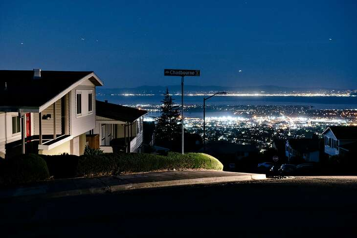 Darkened homes off of Skyline Boulevard in Oakland, California, during PG&p;'s planned power outages on Friday, Oct. 10, 2019. The beleaguered company said more outages are possible this week.