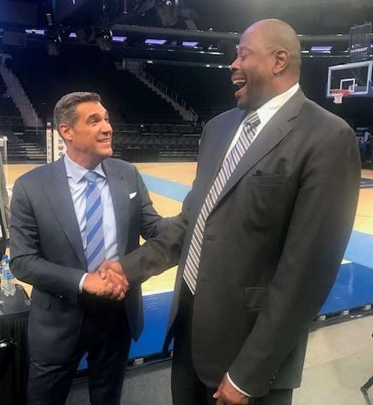Villanova coach Jay Wright (left) shares a laugh with Georgetown coach Patrick Ewing at Big East Media Day on Thursday at Madison Square Garden.