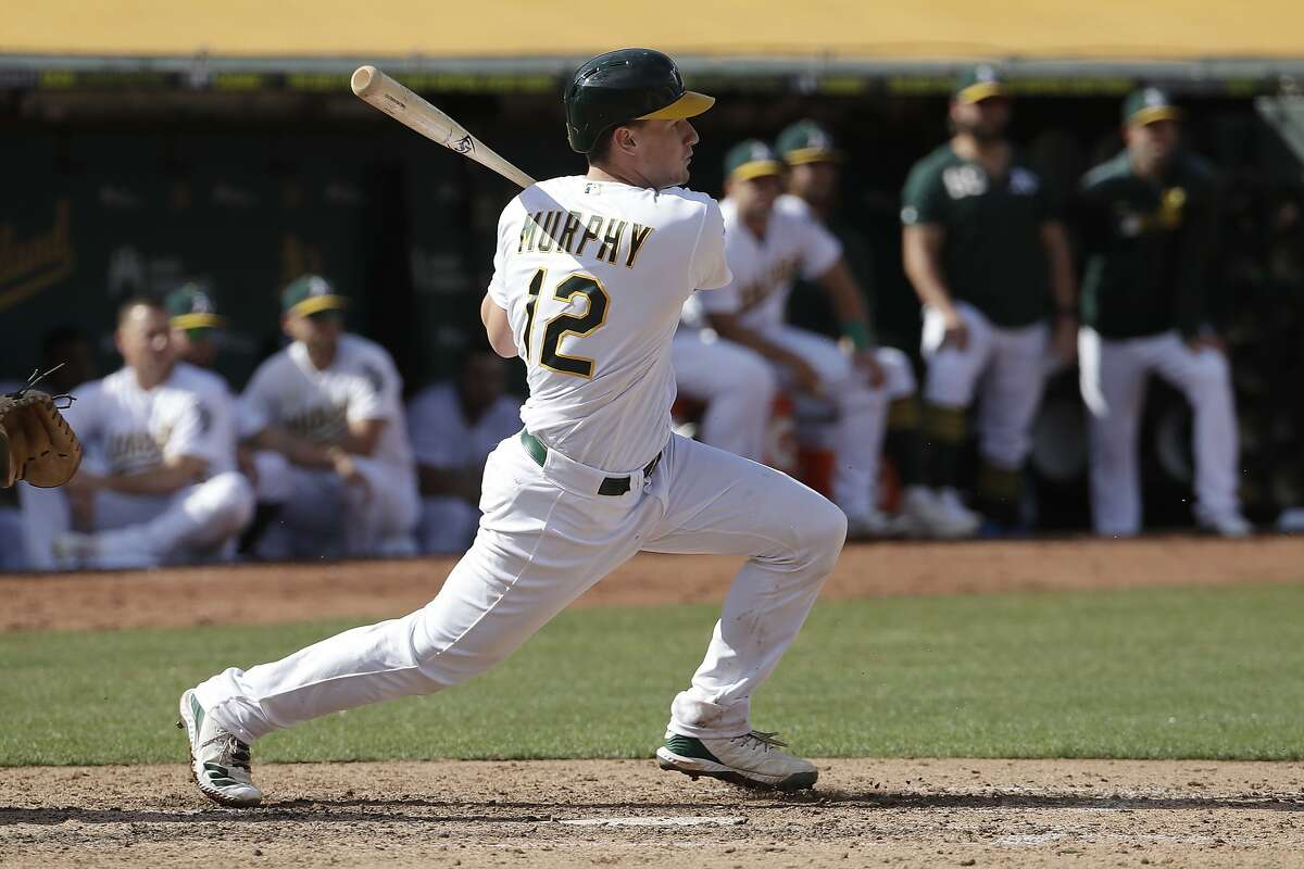 Oakland Athletics' Sean Murphy against the Kansas City Royals during a baseball game in Oakland, Calif., Wednesday, Sept. 18, 2019. (AP Photo/Jeff Chiu)