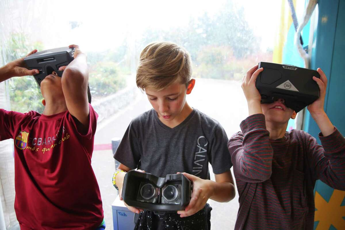 Fifth graders at Briarwood Elementary get to explore the Curiosity Cube, a hands-on, mobile science lab, that visited the school on Monday, Oct. 7, 2019. The lab, operated by MilliporeSigma, uses technology like VR, AR and 3D printers to teach students across the country about science in an interactive way.