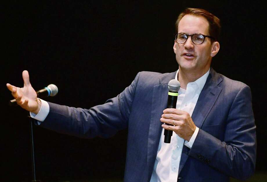 U.S. Rep Jim Himes, D-Conn., discusses gun violence prevention and the importance of political participation by college students at the Norwalk Community College's David L. Levinson Ph.D. Theater. Photo: Erik Trautmann / Hearst Connecticut Media / Norwalk Hour