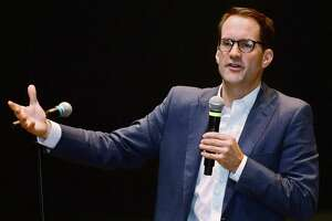 U.S. Rep Jim Himes, D-Conn., discusses gun violence prevention and the importance of political participation by college students at the Norwalk Community College's David L. Levinson Ph.D. Theater.