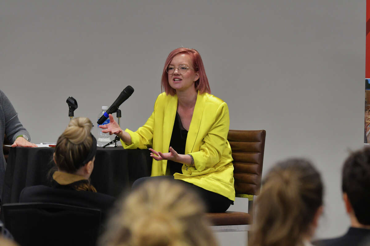 Catherine Hover, founder and CEO of two Saratoga Springs businesses, Paint & Sip Studio and Palette Cafe, speaks at a Women@Work event at the Hearst Media Center on Thursday, Oct. 10, 2019, in Colonie, N.Y. (Paul Buckowski/Times Union)