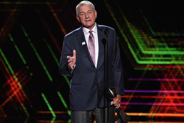 Jim Calhoun, men's basketball coach for the University of Saint Joseph in West Hartford, Conn., accepts the best coach award at the ESPY Awards at the Microsoft Theater in Los Angeles on July 10. Calhoun has been named in a sexual discrimination lawsuit filed by a former associate athletic director at the University of Saint Joseph, the Division III school where he now works. Jaclyn Piscitelli filed a lawsuit Wednesday, Oct. 9 in U.S. District Court against the school, which began admitting men in 2018.