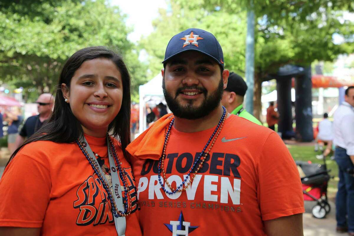 Houston Astros fans before Game 5 of the American League Division Series at Minute Maid Park Thursday, Oct. 10, 2019, in Houston.
