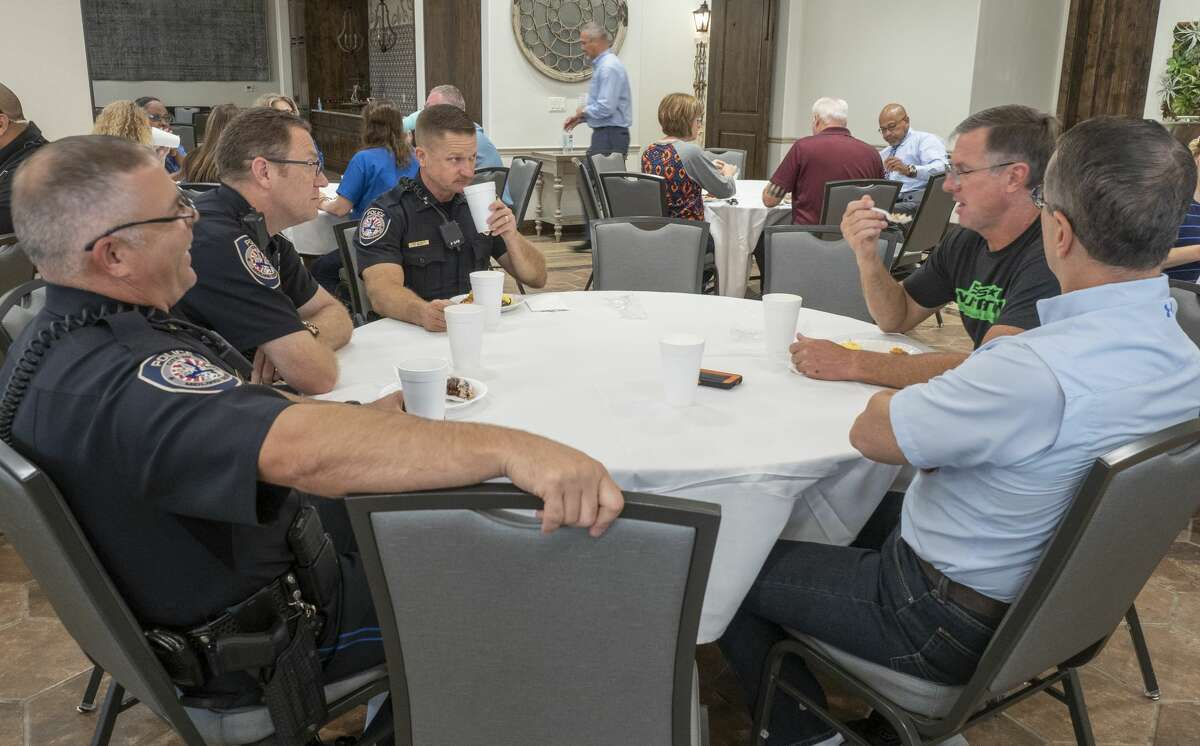 Area first responders are treated to a relaxing time and breakfast 10/09/19 morning at The Way Retreat Center. The Way Retreat Center and Tonk's Tires co-sponsored the event as a way to say thank you and allow officers, firefighters and dispatchers a little reprieve from their busy days. Tim Fischer/Reporter-Telegram