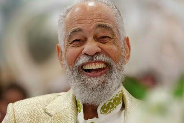 """Texas Southern University's Head Debate Coach Emeritus Thomas F. Freeman smiles during a birthday brunch event, called """"A Legend in His Own Time,"""" to celebrate Freeman's 100th birthday Saturday, June 29, 2019, in Houston."""