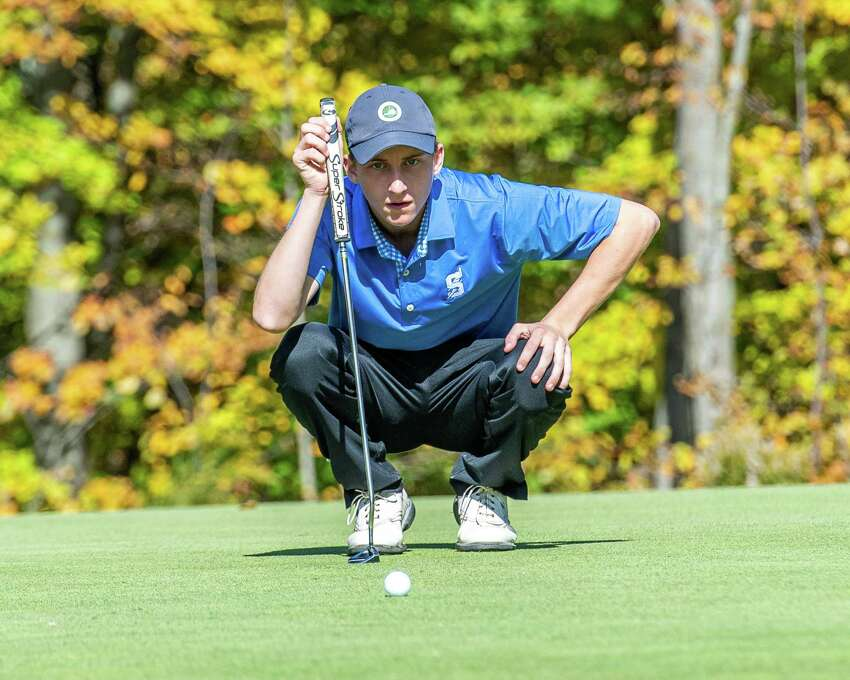 Will Braxton, of Saratoga High School, lines up a putt during the Section II, Class A golf championships at the Fairways of Halfmoon in Mechanicville, NY on Thursday, Oct. 19, 2019 (Jim Franco/Special to the Times Union.)
