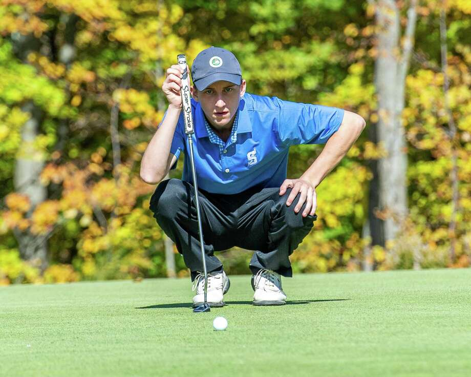 Will Braxton, of Saratoga High School, lines up a putt during the Section II, Class A golf championships at the Fairways of Halfmoon in Mechanicville, NY on Thursday, Oct. 19, 2019 (Jim Franco/Special to the Times Union.) Photo: James Franco / 40047943A