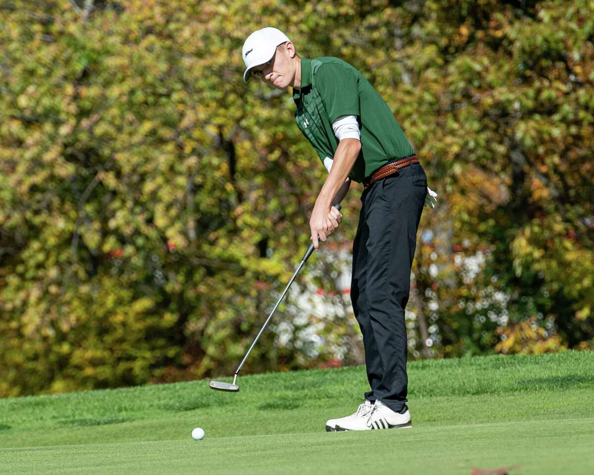 Paul Goetz, of Shenendehowa High School, hits a putt shot during the Section II, Class A golf championships at the Fairways of Halfmoon in Mechanicville, NY on Thursday, Oct. 19, 2019 (Jim Franco/Special to the Times Union.)