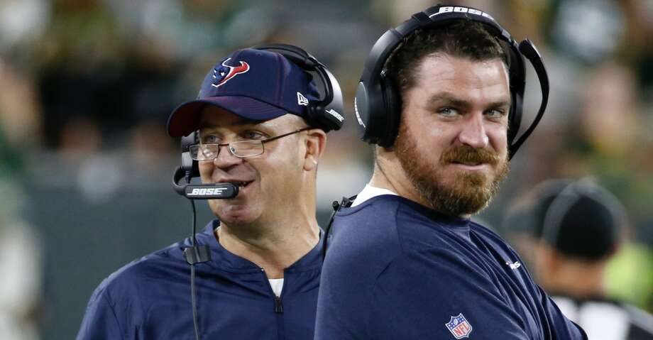 Houston Texans head coach Bill O'Brien, left, and offensive coordinator Tim Kelly work the sideline against the Green Bay Packers during a preseason NFL football game at Lambeau Field in Thursday, Aug. 8, 2019, in Green Bay, Wis. Photo: Brett Coomer/Staff Photographer